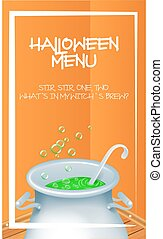 Halloween Menu Template with realistic Halloween witch s cauldron pot with green bubbling witch s brew in it