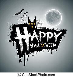 halloween, messaggio, disegno, felice