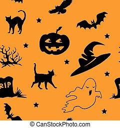 halloween, modèle, 3, seamless