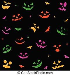 halloween, modèle, faces, potirons, seamless