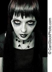 halloween., moda, retrato, de, noturna, vampiro