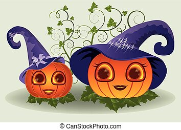 Halloween mom and baby pumpkins