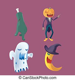 Halloween Monster Hollow Collection Set Vector
