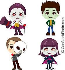halloween, monster, karikatur