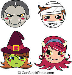 Halloween Monster Masks - Set of four monster face masks for...