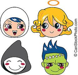 Halloween Monster Masks - Set of four monster face masks for...