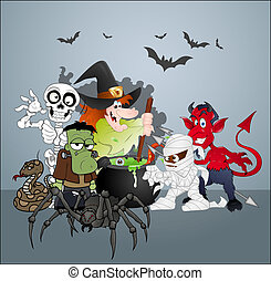 Halloween Monster Party Celebration - Creative Conceptual ...