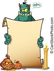 halloween, monster, vasthouden, boekrol