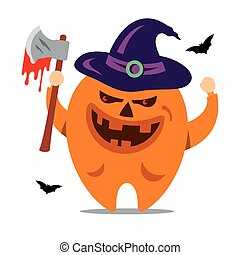 Halloween Monster. Vector Cartoon Illustration.
