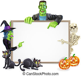 Halloween Monsters Background Sign - A Halloween sign with...