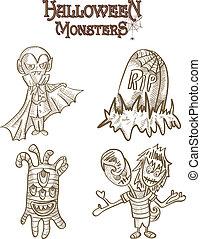Halloween Monsters spooky characters set EPS10 file - ...