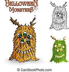 Halloween monsters spooky creature illustration EPS10 file -...