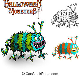 Halloween Monsters spooky elements set EPS10 file.