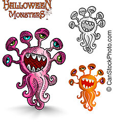 Halloween monsters weird eyes squid EPS10 file. - Halloween...