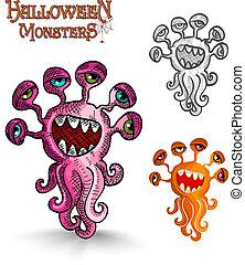 Halloween monsters weird eyes squid EPS10 file. - Halloween...