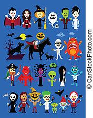 halloween, monstruos, caracteres, hacerpuré