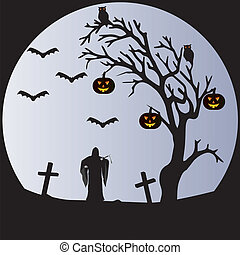 A Halloween Scene of a Withered tree, Bats, Pumpkins, Owls, a Graveyard and the Grim Reaper in front of a pale moon