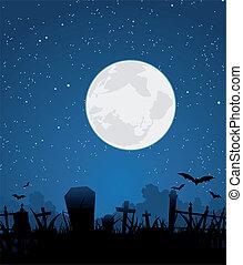 Halloween Moon And Graveyard