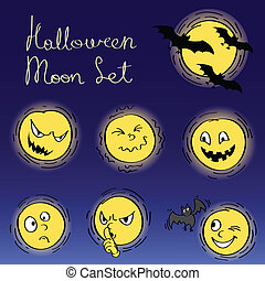 halloween moon faces set