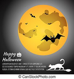 Halloween moon on grey background with cat and bat. Gift card Happy Halloween. Vector illustration.