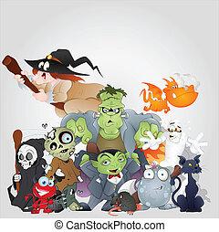 halloween, mostri, famiglia