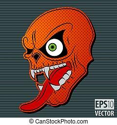 Halloween Motive Icon with Orange Scary Skull on grey...
