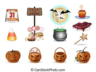 Halloween multi colored cartoon vector icons set