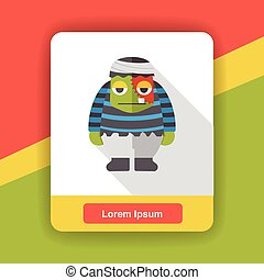 Halloween mummy flat icon