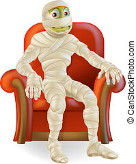 Halloween Mummy in Chair - An illustration of a cartoon...
