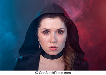 Halloween, mysterious and myst concept - sexy brunette woman...
