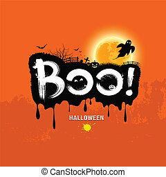 halloween, nachricht, boo!., design