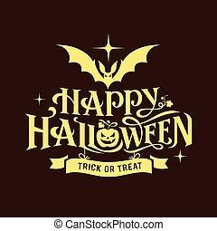 halloween, nachricht, glücklich, silhouette, design
