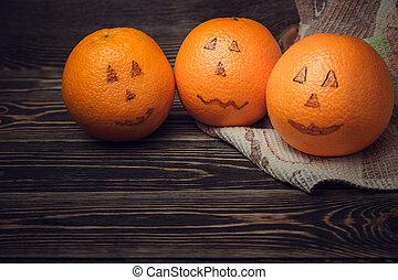 halloween, naturaleza muerta, con, naranja