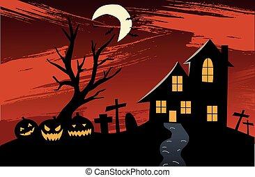 halloween, nawiedzany, tło, dom