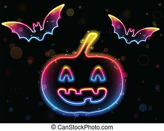 Halloween Neon Background with Pumpkin and Bats