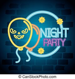 halloween neon, night party sign with scary balloons helium decoration