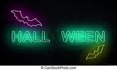 Halloween Neon Sign Concept Background Looping Animation ...