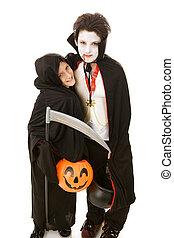 halloween, niños, -, hermanos
