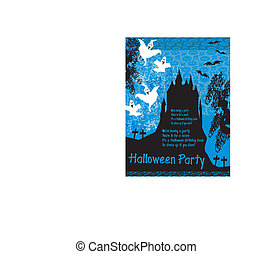 Halloween night background - haunted house