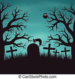 Halloween night background in wood.