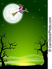 halloween night background with a flying witch and full moon