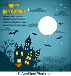 Halloween Night Background With Dark Castle
