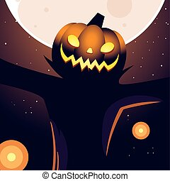halloween night background with full moon and scarecrow