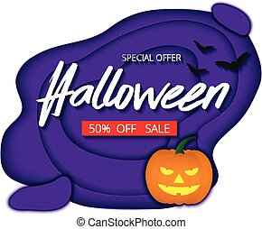 Halloween night background with pumpkin, bats sale promotion