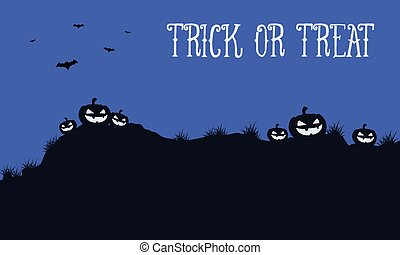 Halloween night background with pumpkin