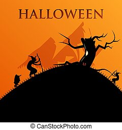 Halloween night background with spooky tree and horrors, illustration Happy Halloween vector design