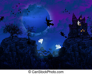 Halloween night background with witches,ghost and castle