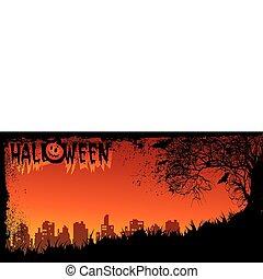Halloween night. Vector art-illustration on a red...