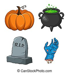 Halloween night collection. Creepy cartoon set for spooky october holiday. Vector design of pumpkin, witch cauldron with green poison, rip grave tombstone and zombie hand. Eps 10 isolated illustration