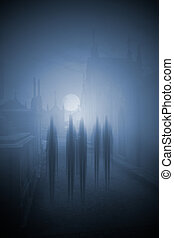 Halloween night - Ghosts passing on the main street of an...